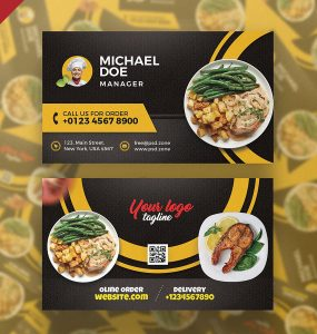 Restaurant Cafe Business Card PSD Template