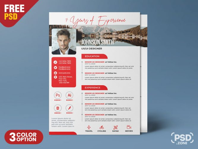 A4 Size Vertical Resume CV PSD Template