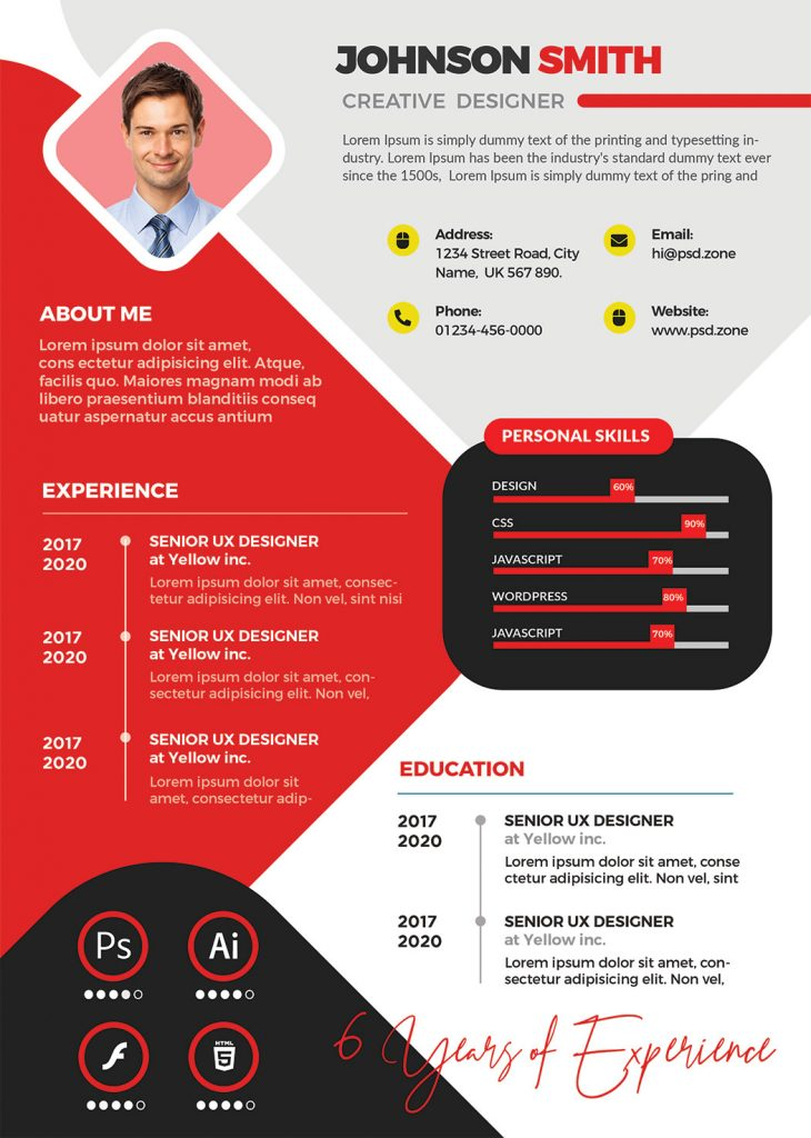 Clean Professional Job Resume CV PSD