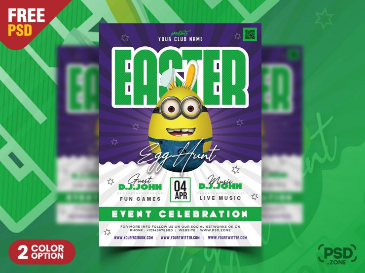 Easter Event Party Flyer PSD Template