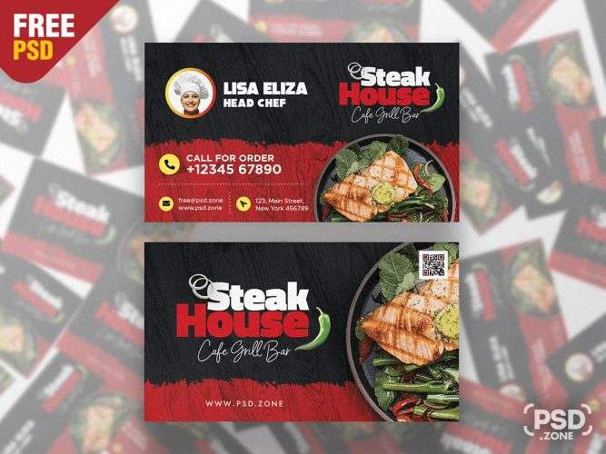 Restaurant Business Card Template Free PSD