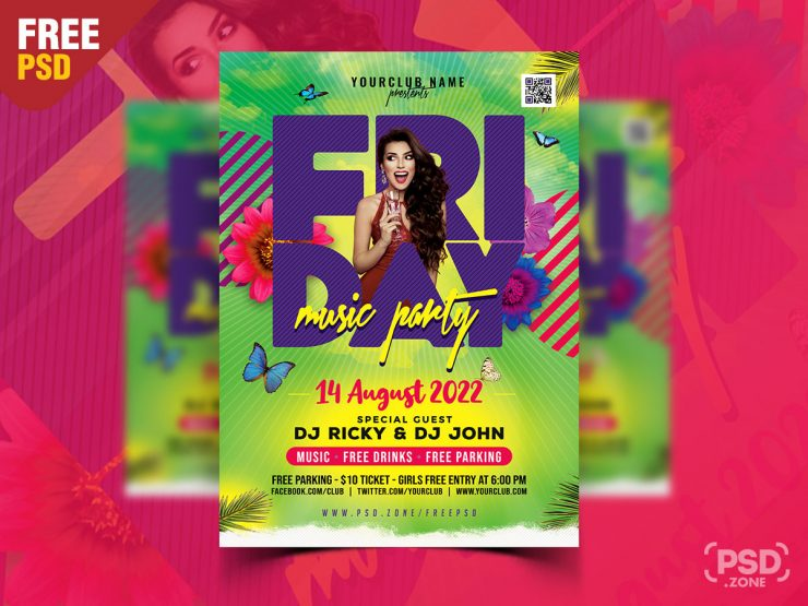 Colorful Night Club Flyer PSD