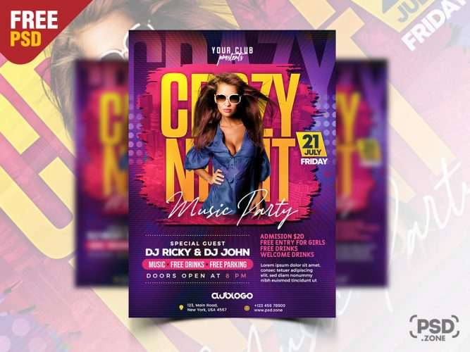Crazy Night Club Party Flyer PSD