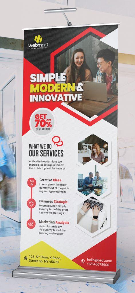 Modern Business Roll-Up Banner Layout PSD