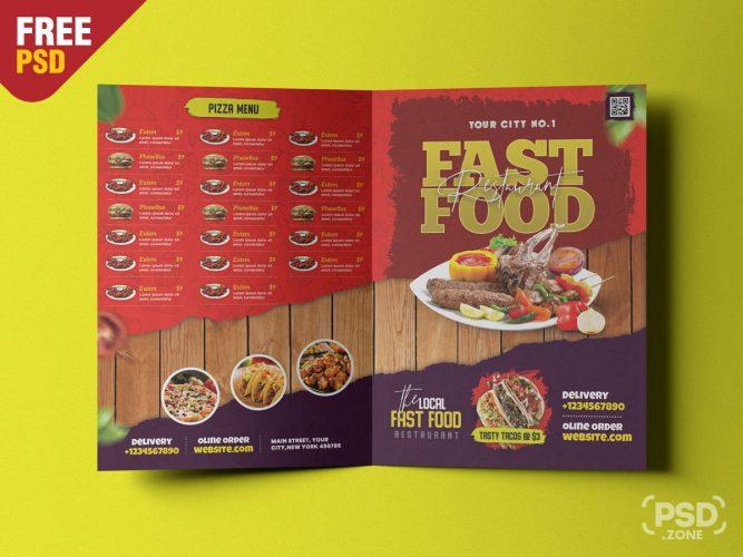 Restaurant Food Menu Bifold Brochure PSD