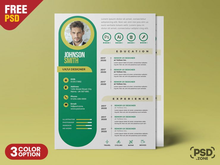 Clean Modern CV Resume Design PSD