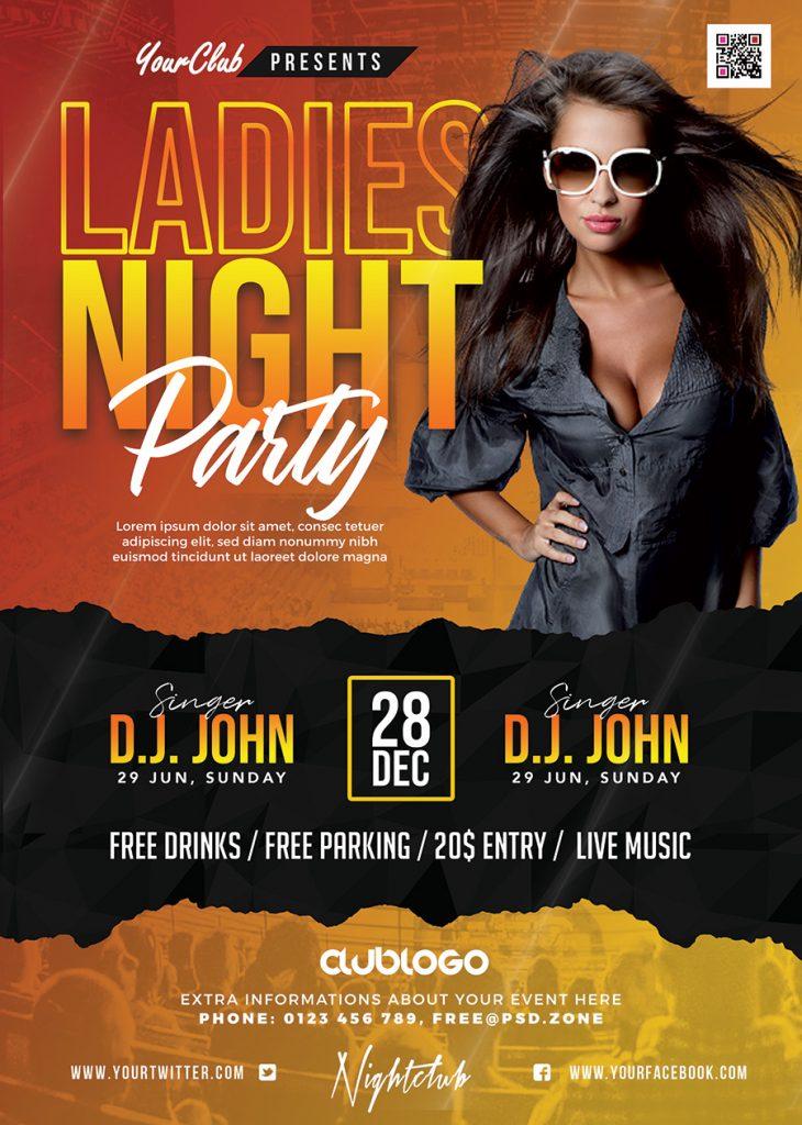 Premium Ladies Night Party Flyer PSD