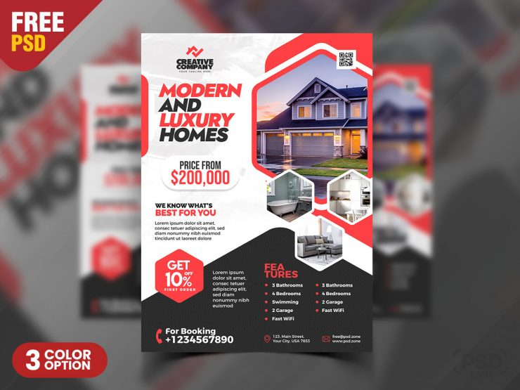Real Estate Company Promotional Flyer PSD