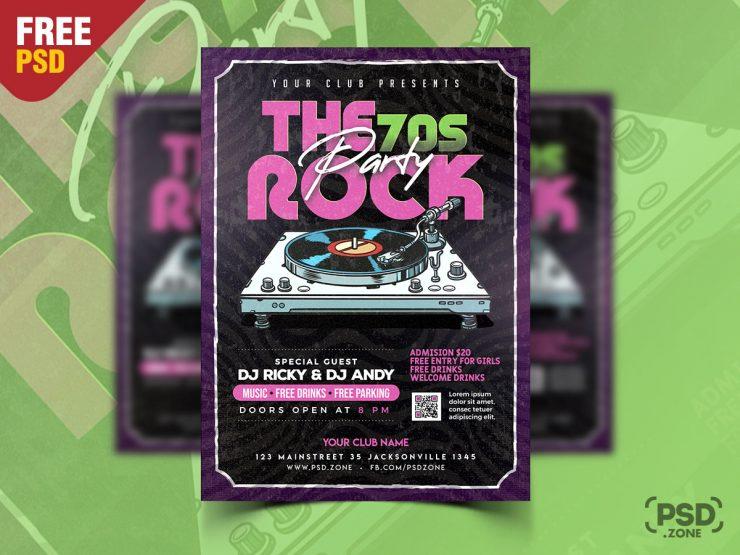 Retro Party Flyer Poster Design PSD