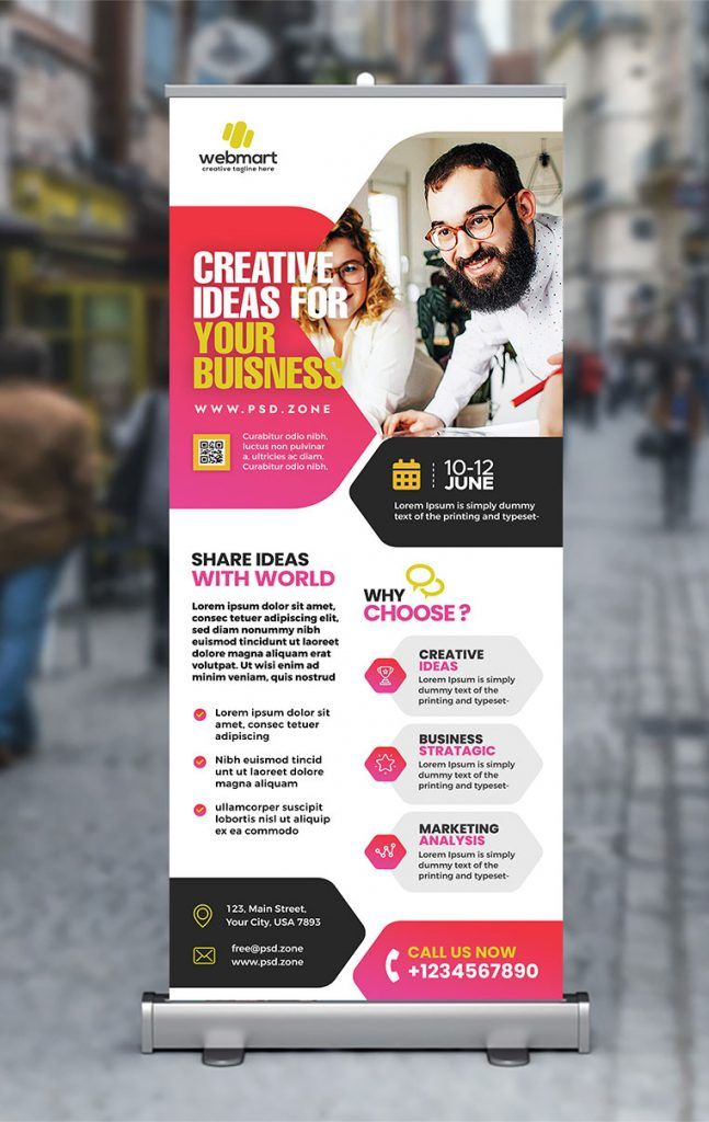Advertising Agency Roll up Banner PSD
