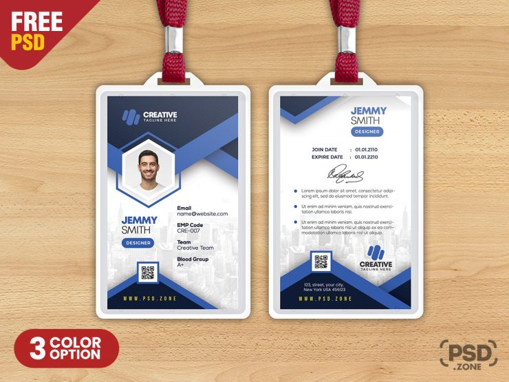 Designer Employee Photo Identity Card PSD