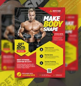 Gym And Fitness Ad Flyer PSD Template