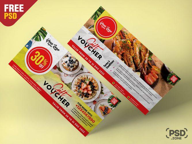 Restaurant Promotion Gift Voucher Design PSD