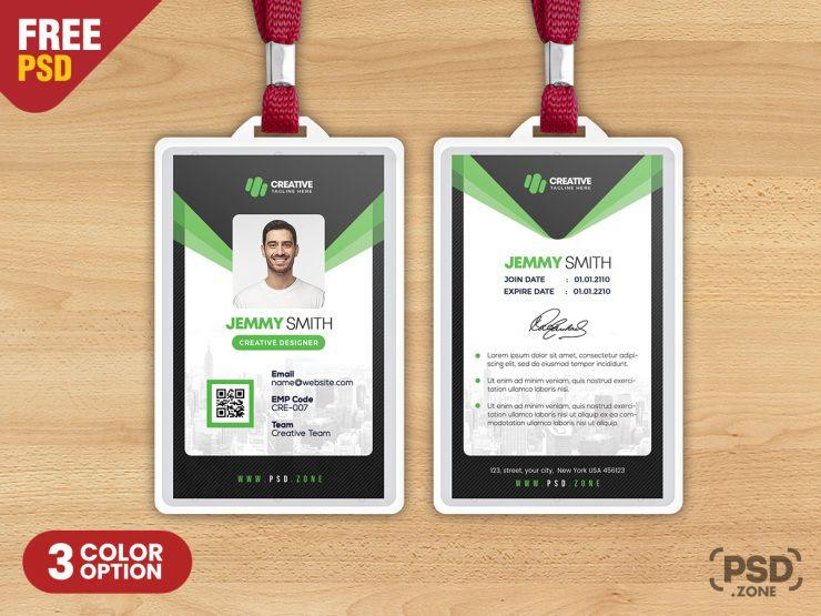 Designer Vertical Photo Identity Card PSD