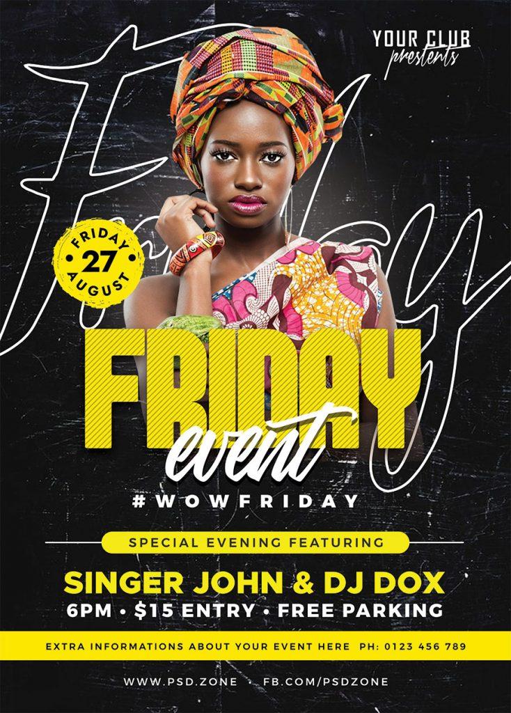 Music Night DJ Event Party Flyer PSD