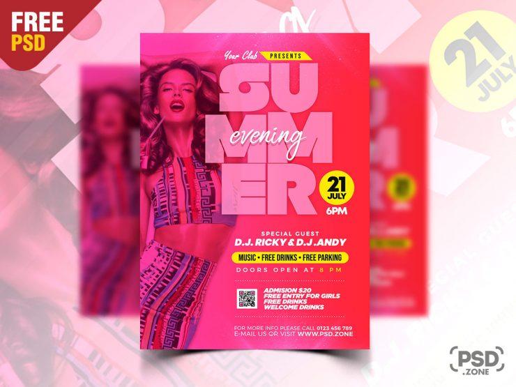 Summer Evening Party Flyer PSD