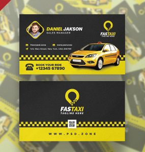 Taxi Cab Service Business Card PSD Template