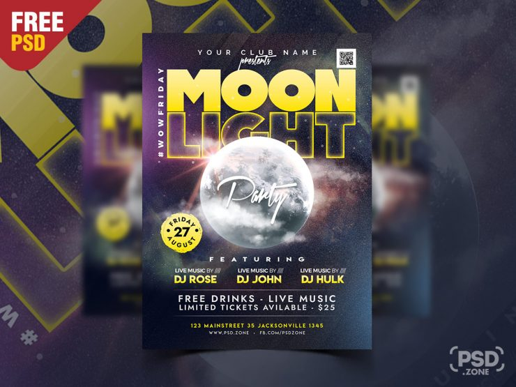 Moon Light Night Party Flyer PSD