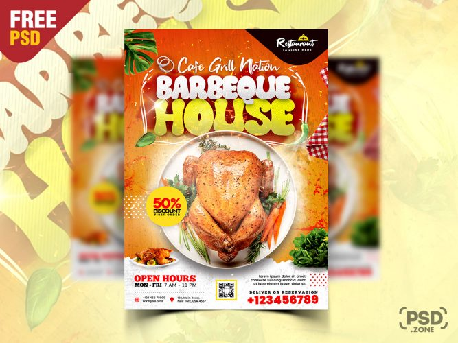 BBQ Restaurant Promotional Flyer PSD