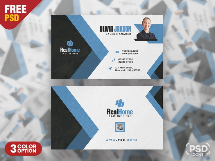 Elegant Abstract Business Card PSD Template