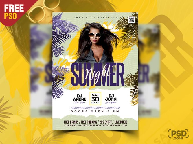 Summer Event Club Party Flyer PSD
